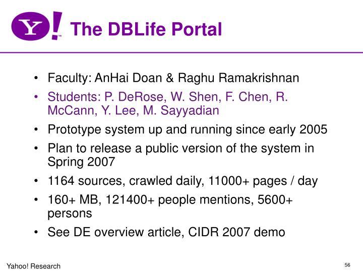 The DBLife Portal