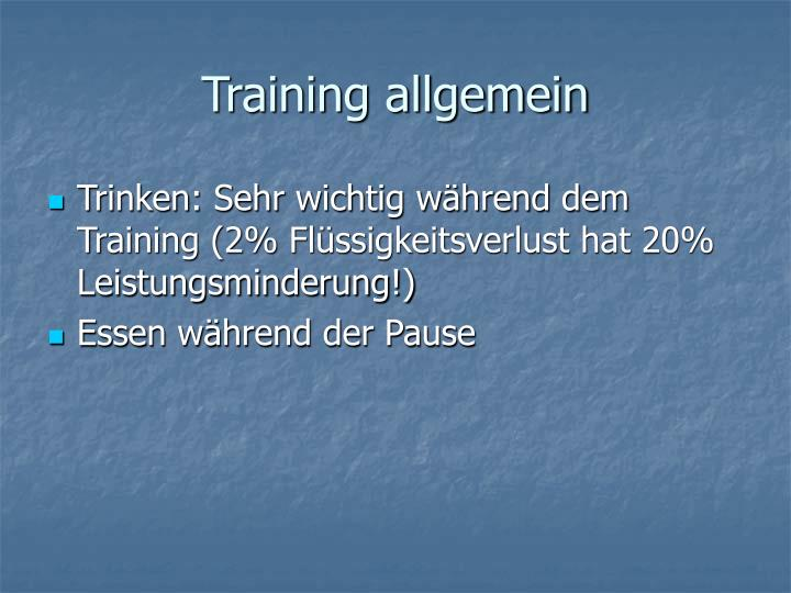 Training allgemein