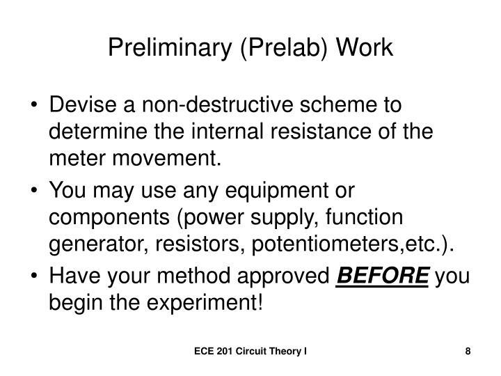Preliminary (Prelab) Work