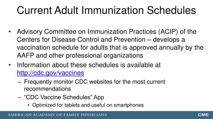 Current Adult Immunization Schedules