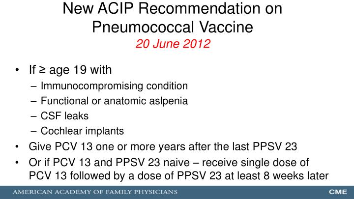 New ACIP Recommendation on Pneumococcal