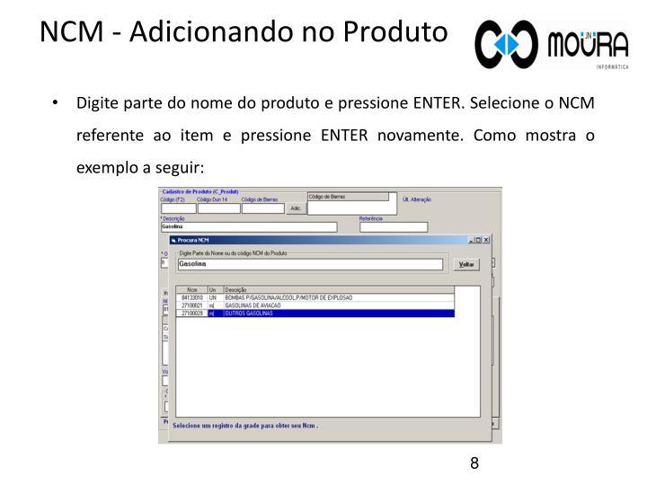 NCM - Adicionando no Produto