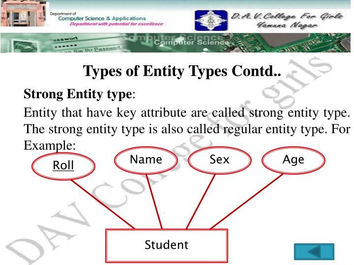 Types of Entity Types Contd..
