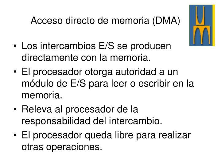 Los intercambios E/S se producen directamente con la memoria.