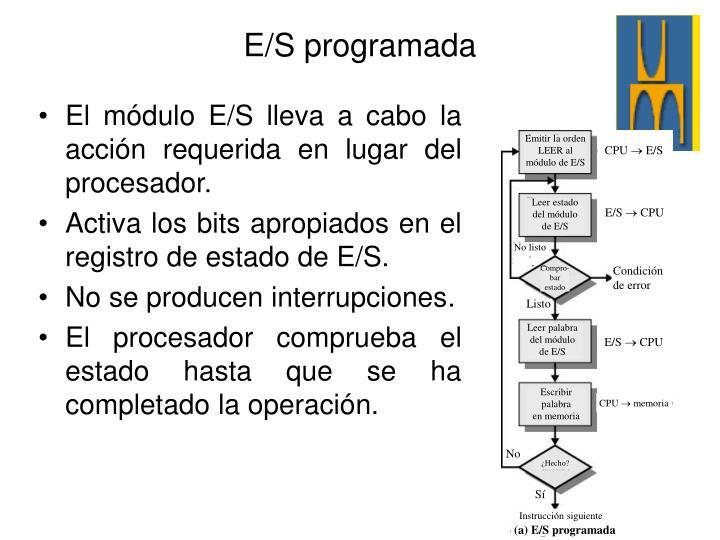 El módulo E/S lleva a cabo la acción requerida en lugar del procesador.