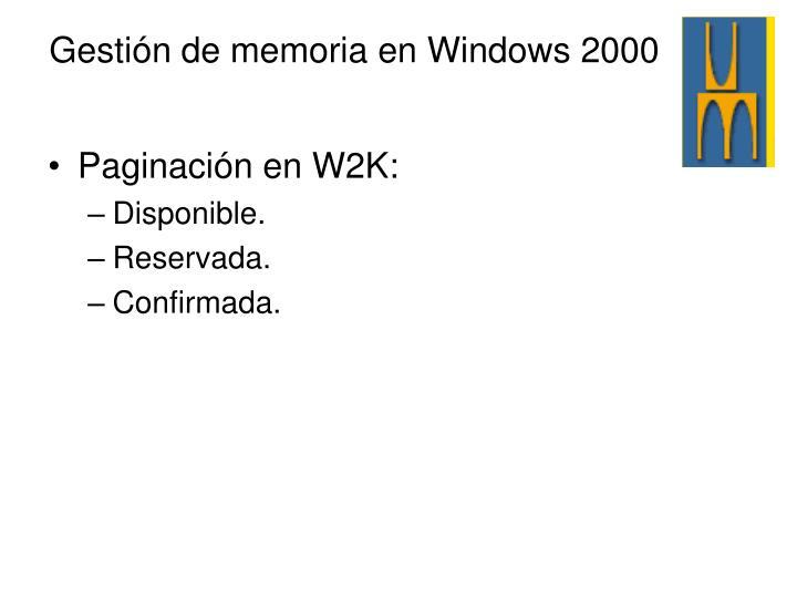 Paginación en W2K: