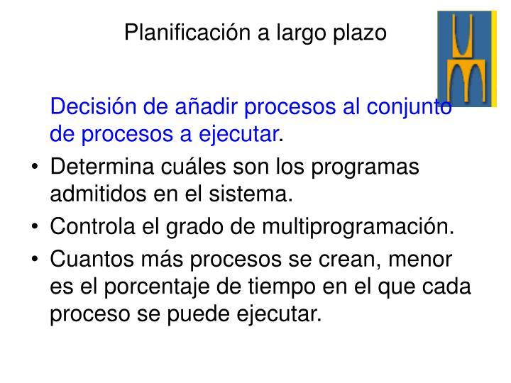 Decisión de añadir procesos al conjunto de procesos a ejecutar
