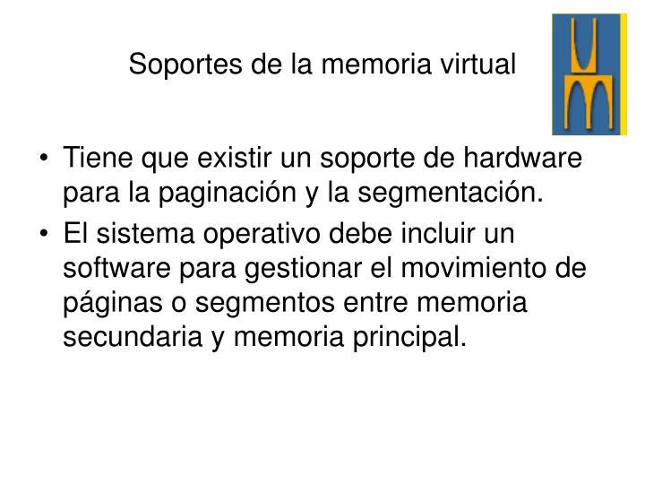 Tiene que existir un soporte de hardware para la paginación y la segmentación.