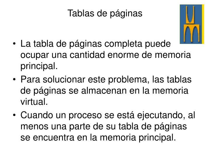 La tabla de páginas completa puede ocupar una cantidad enorme de memoria principal.