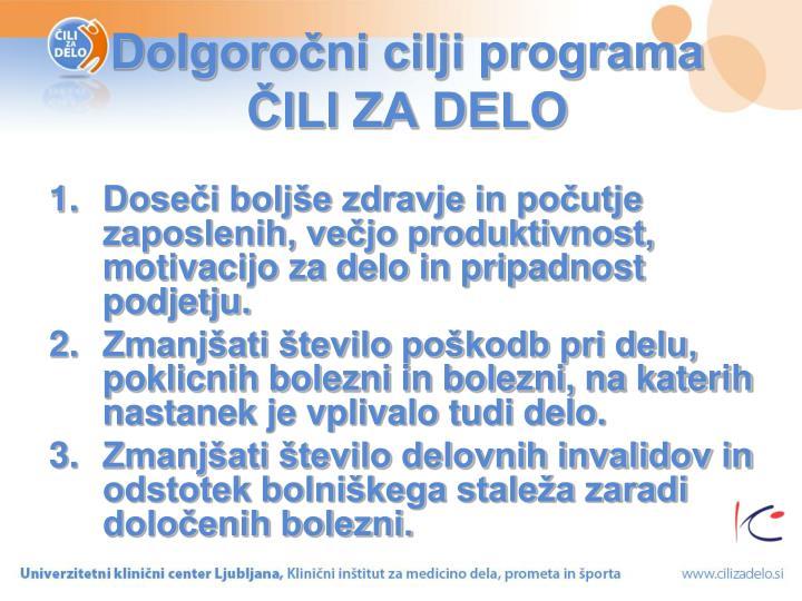 Dolgoročni cilji programa ČILI ZA DELO