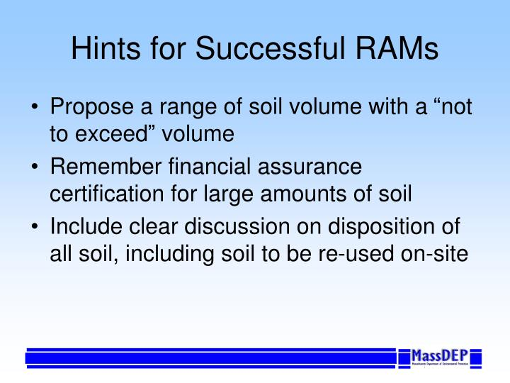 Hints for Successful RAMs