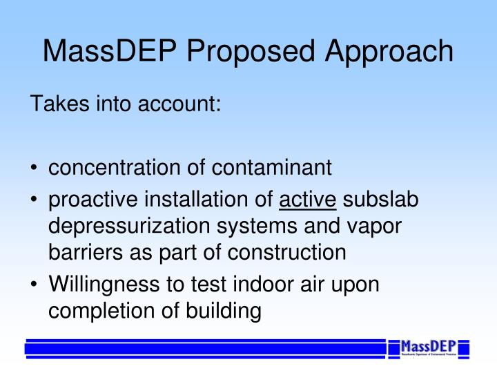 MassDEP Proposed Approach