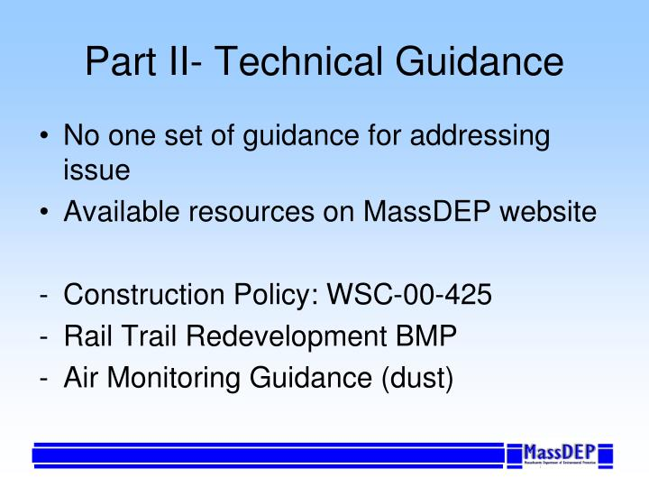 Part II- Technical Guidance