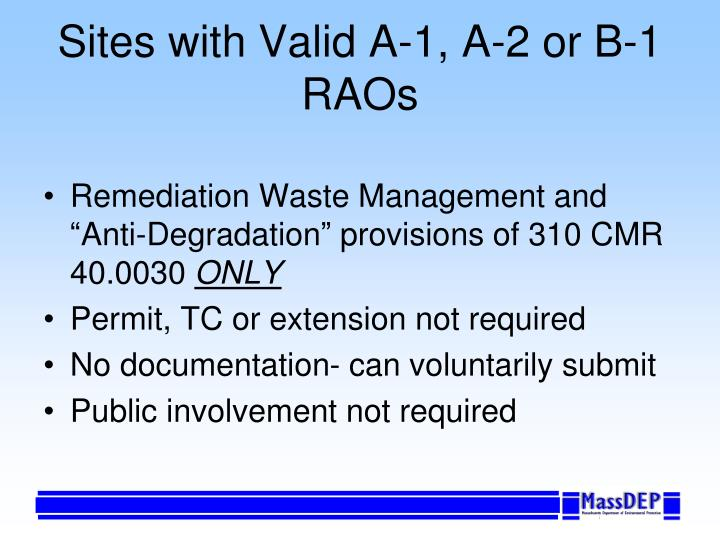Sites with Valid A-1, A-2 or B-1 RAOs