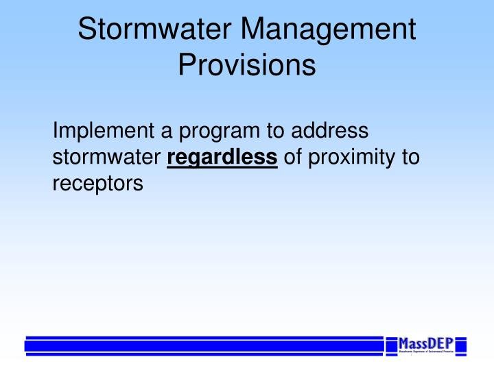Stormwater Management Provisions