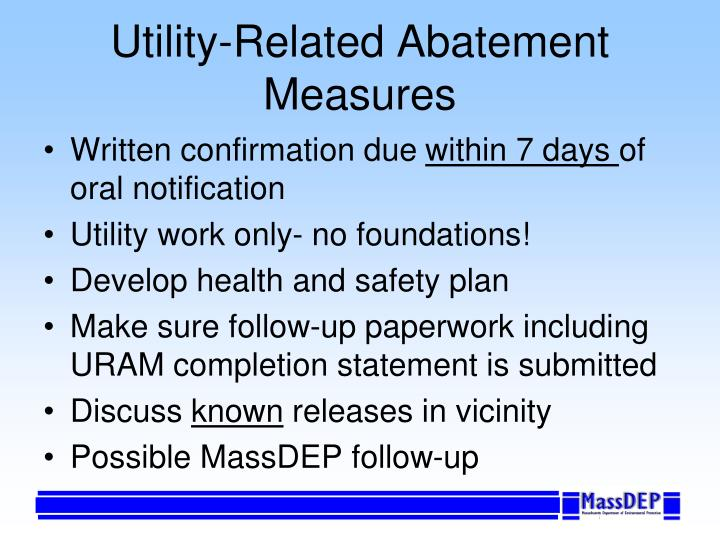 Utility-Related Abatement Measures