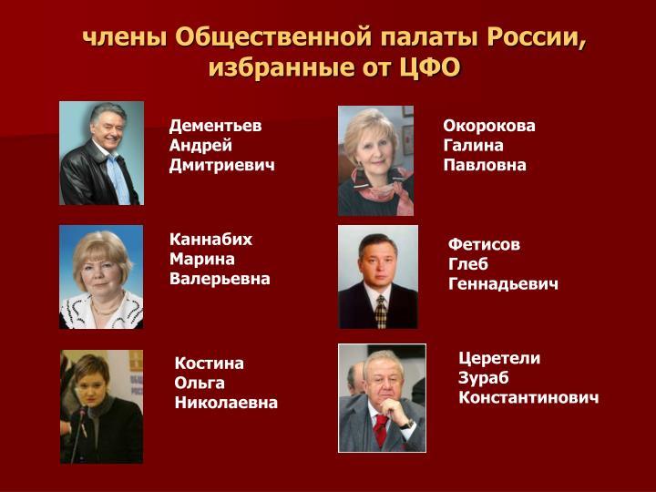 члены Общественной палаты России, избранные от ЦФО
