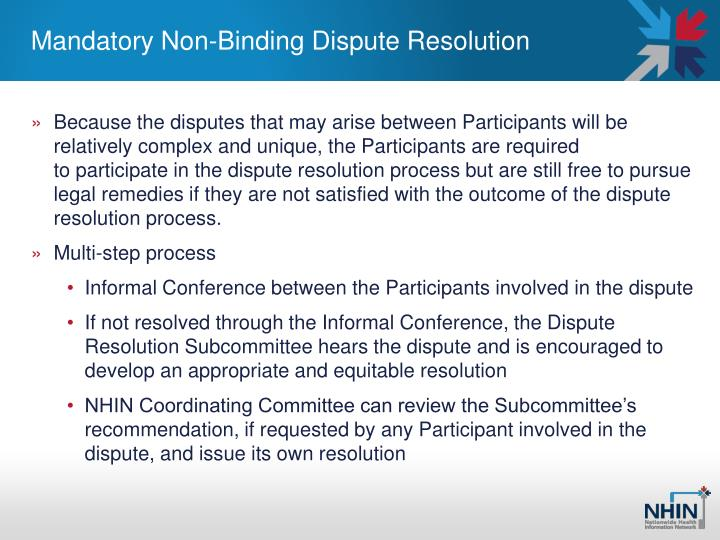 Mandatory Non-Binding Dispute Resolution