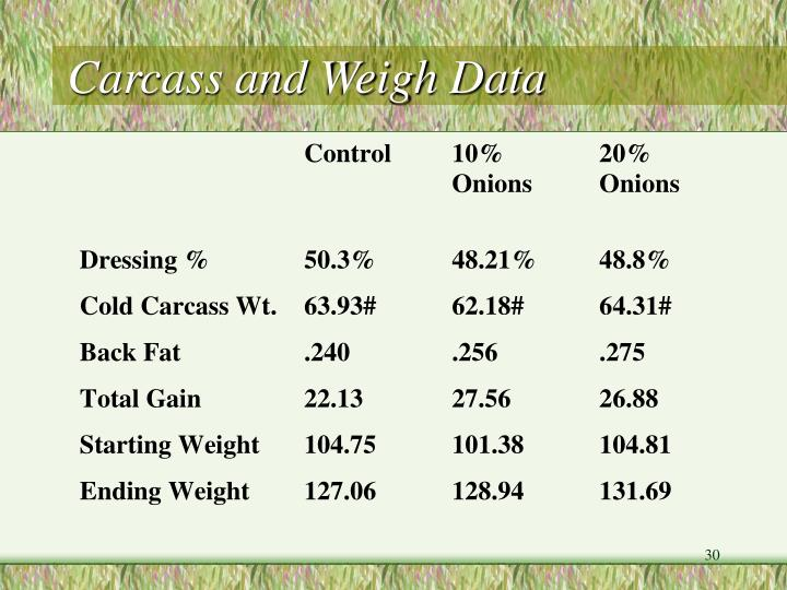 Carcass and Weigh Data