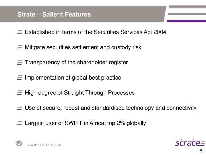 Strate – Salient Features
