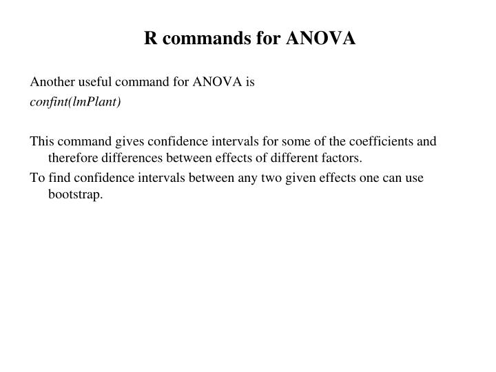 R commands for ANOVA