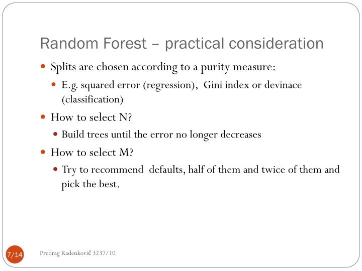 Random Forest – practical consideration