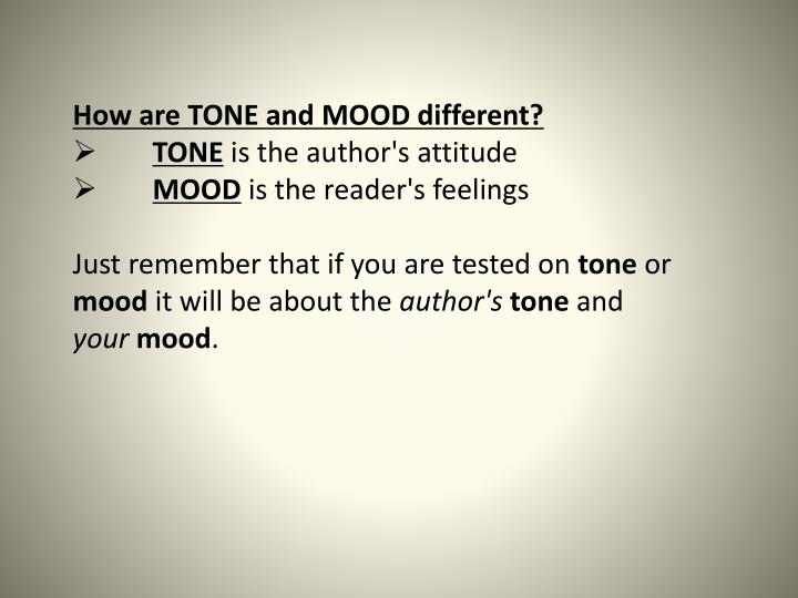 How are TONE and MOOD different?