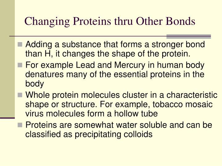 Changing Proteins thru Other Bonds