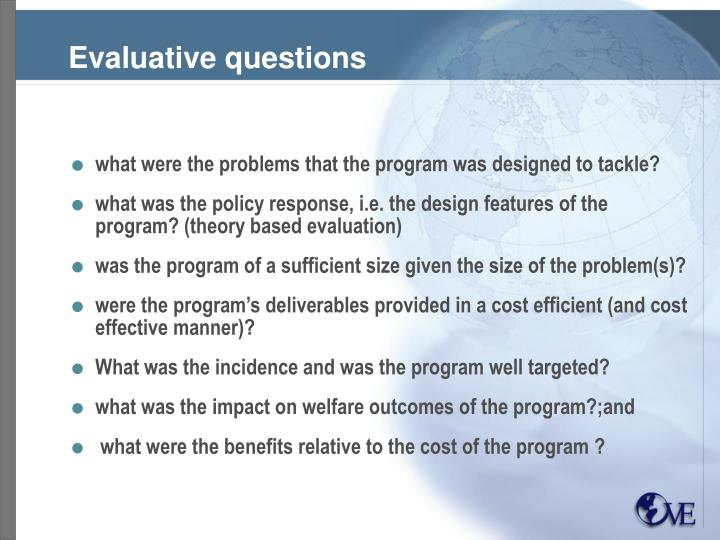 Evaluative questions