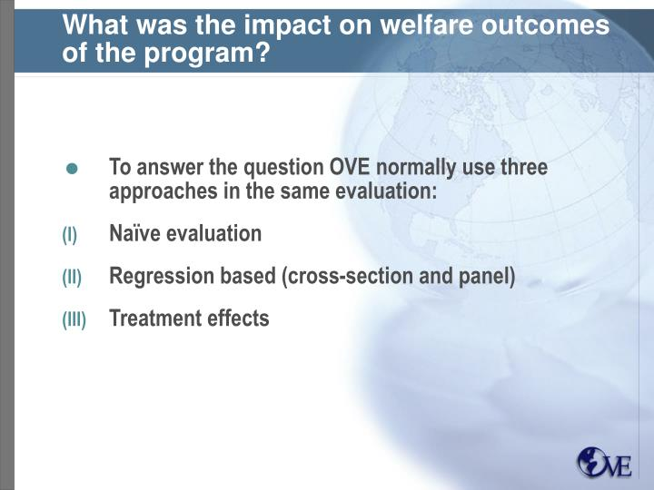 What was the impact on welfare outcomes of the program?