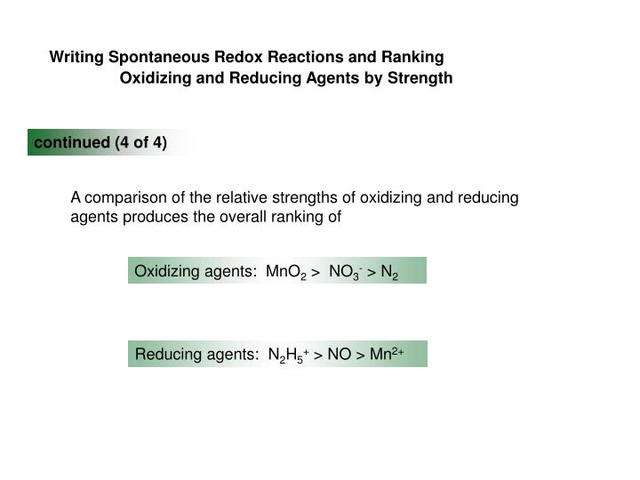 Writing Spontaneous Redox Reactions and Ranking