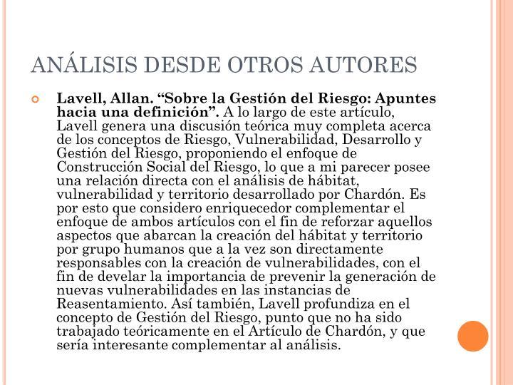 ANÁLISIS DESDE OTROS AUTORES