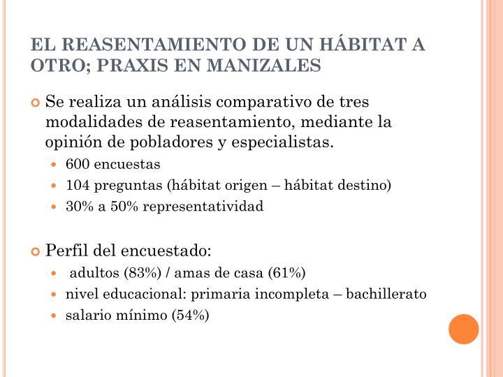 EL REASENTAMIENTO DE UN HÁBITAT A OTRO; PRAXIS EN MANIZALES