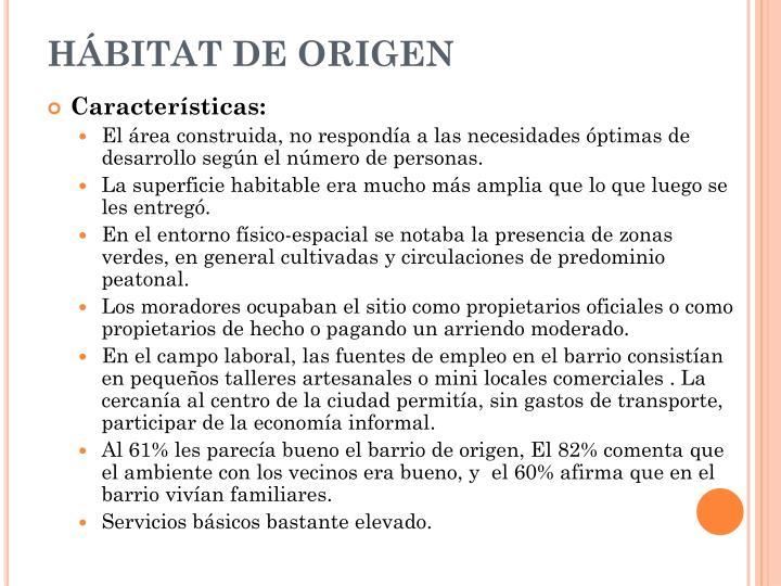 HÁBITAT DE ORIGEN