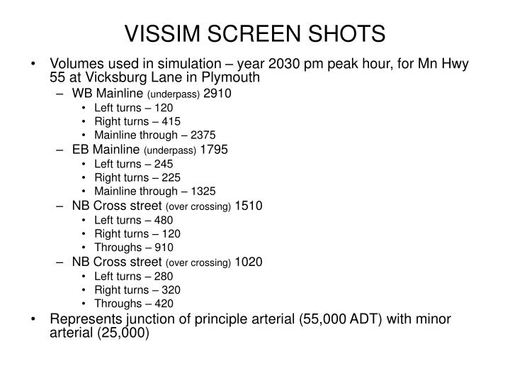 Vissim screen shots