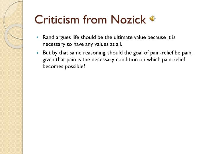 Criticism from Nozick
