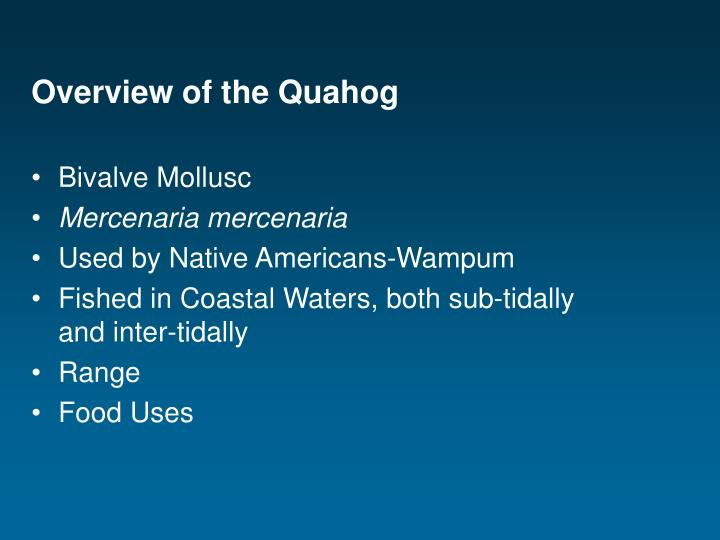Overview of the Quahog