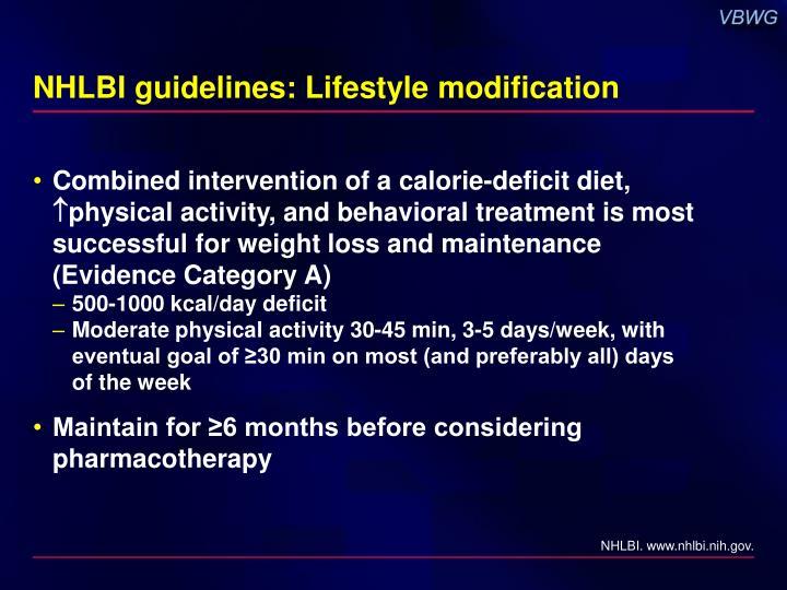 NHLBI guidelines: Lifestyle modification