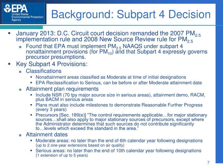 Background: Subpart 4 Decision