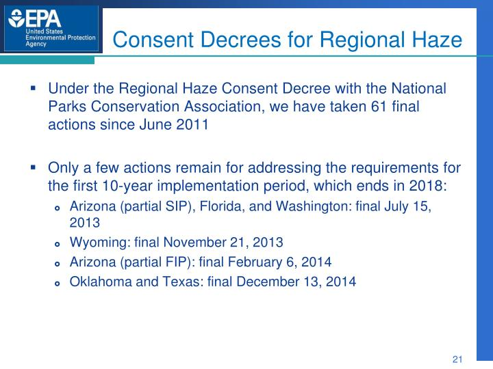Consent Decrees for Regional Haze