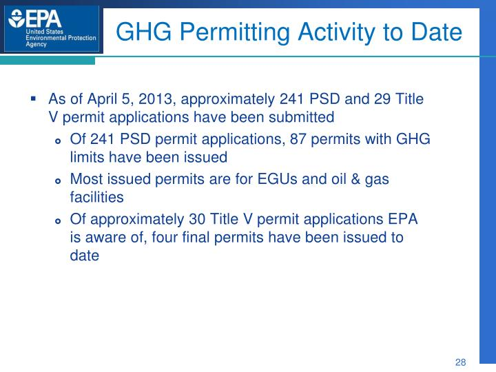 GHG Permitting Activity to Date