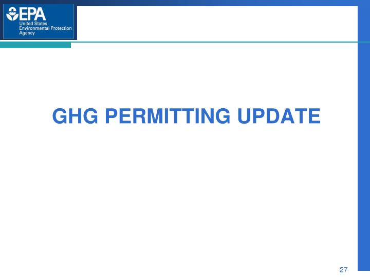 GHG permitting Update