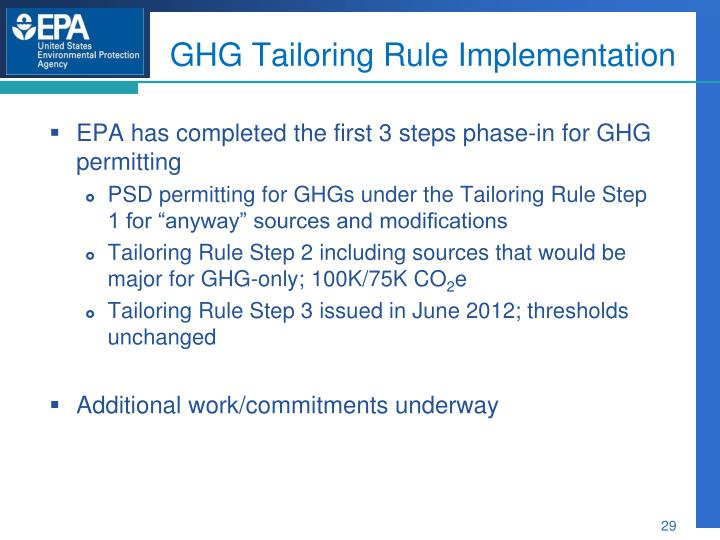 GHG Tailoring Rule Implementation
