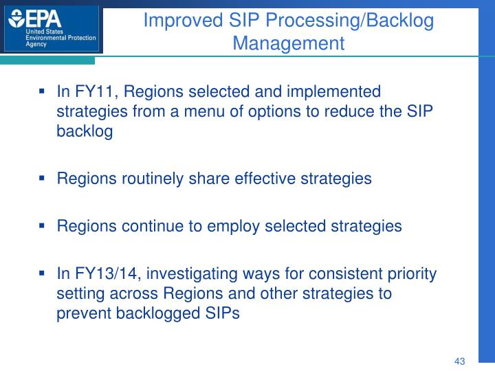 Improved SIP Processing/Backlog Management