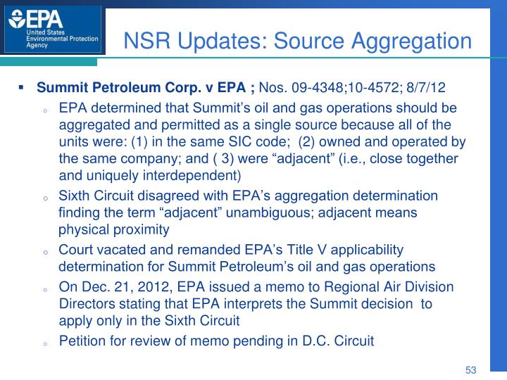 NSR Updates: Source Aggregation