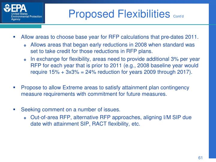 Proposed Flexibilities