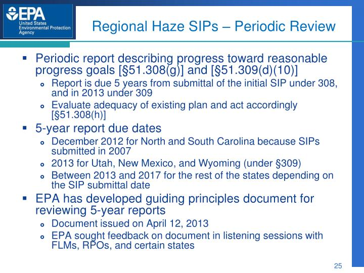 Regional Haze SIPs – Periodic Review