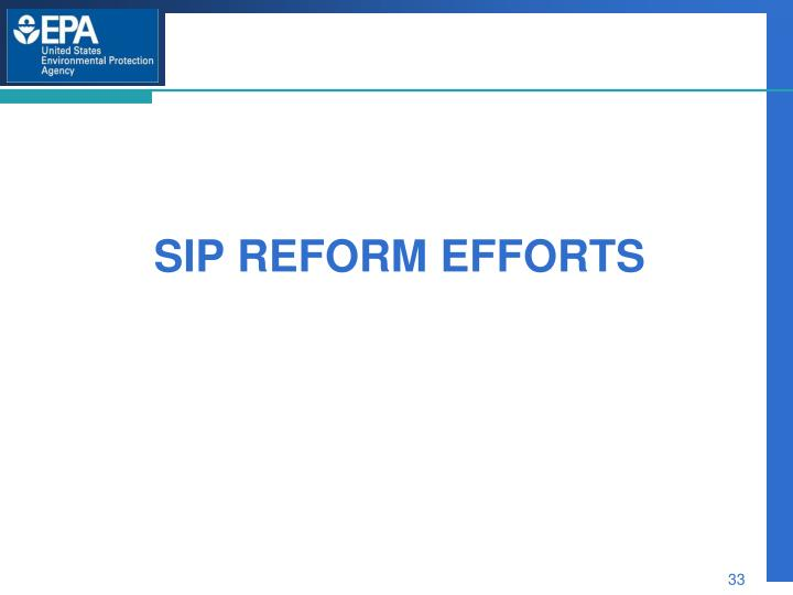 Sip REFORM EFFORTS