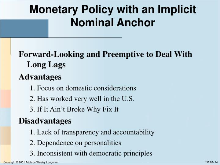 Monetary Policy with an Implicit Nominal Anchor