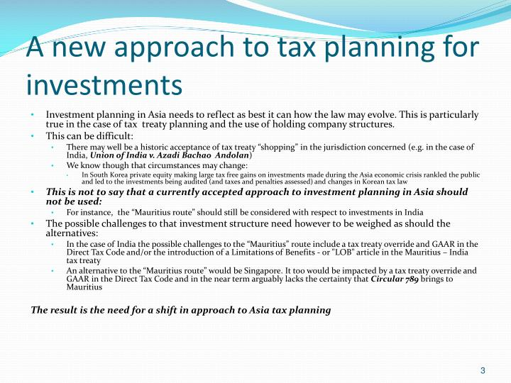 A new approach to tax planning for investments